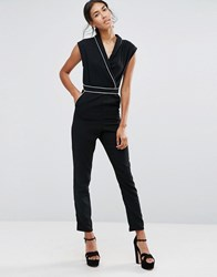 Alter Pyjama Piped Edge Jumpsuit Black White Piping
