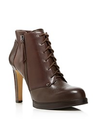 French Connection Beatrix Lace Up High Heel Booties Bitter Chestnut
