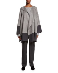 Eskandar Double Face Cashmere Jacket Coat Stone Gray Gray Medium