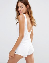 Noisy May Ribbed Low Back Tank Top White
