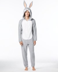 Briefly Stated State Men's Bugs Bunny Hooded Jumpsuit Pajamas Grey