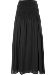 See By Chloa Guipure Lace Panel Maxi Skirt Black