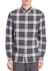 Vince Plaid Melrose Shirt Black Deep Moss White Blue