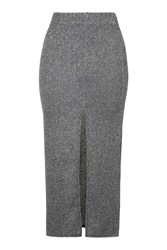 Topshop Thigh Split Midi Skirt Silver