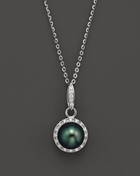 Tara Pearls Tahitian Cultured Pearl Pendant Necklace With Diamonds In 14K White Gold 15 Black