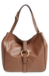 Michael Michael Kors 'Large Quincy' Leather Tote Brown Dark Caramel
