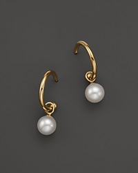 Bloomingdale's Cultured South Sea Pearl Huggie Hoop Earrings In 14K Yellow Gold Yellow White