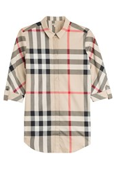 Burberry Brit Printed Cotton Shirt Beige