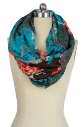 Saachi Blue Floral Lace Infinity Scarf Multi