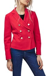 Topshop Women's Gold Button Double Breasted Blazer Red