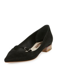 Sophia Webster Piper Suede Pointed Toe Flat Black Pink Women's