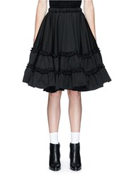 Chictopia Ruffle Trim Wool Twill Flare Skirt Black
