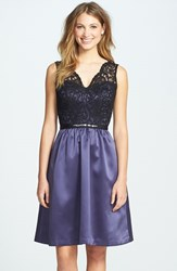 Women's After Six Embellished Lace Contrast Satin Fit And Flare Dress Black Lace Amethyst