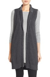 Women's Eileen Fisher Organic Cotton Shawl Collar Vest Charcoal