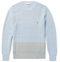 Maison Kitsune Two Tone Cotton Sweater Blue