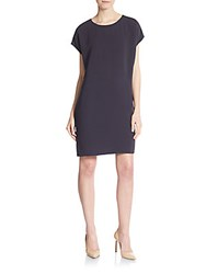 Vince Leather Trim Shift Dress Coastal Blue