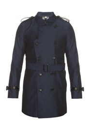 Burberry Kensington Gabardine Trench Coat Blue