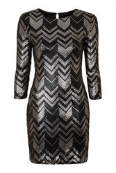 Moonshine Silver And Black Zig Zag Sequin Dress By Goldie