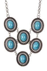 Spring Street Oval Turquoise Statement Necklace Blue