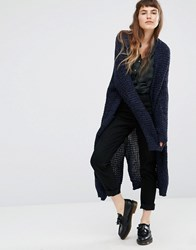 Qed London Oversized Longline Cardigan Black Navy