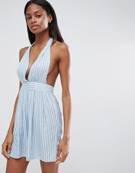 Influence Stripe Halter Playsuit Blue