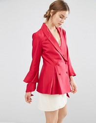 C Meo Collective Alright Blazer With Ruffle Sleeve Raspberry Red