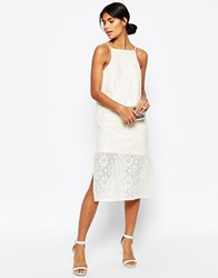 Asos Column Midi Cami Dress In Cotton Lace Cream