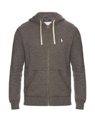 Polo Ralph Lauren Zip Up Cotton Blend Hooded Sweatshirt Grey