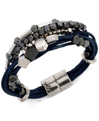 Kenneth Cole New York Two Tone Multi Row Cord Bracelet Blue