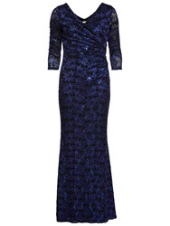 Gina Bacconi Sequin Leaf Lace Maxi Dress Royal Blue Black