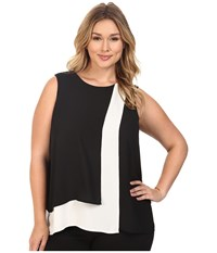 Vince Camuto Plus Size Sleeveless Color Blocked Layered Blouse Rich Black Women's Blouse