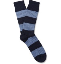 Corgi Striped Wool And Cotton Blend Socks Idnight Blue Midnight Blue
