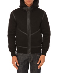 Schott Nyc Leather Detail Hooded Bomber Cardigan Black Leather