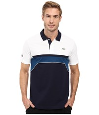 Lacoste T1 Short Sleeve Superlight Chest Stripe Detail Navy Blue White Yachting Blue Men's Clothing Black
