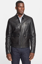 Salvatore Ferragamo Trim Fit Nappa Leather Moto Jacket Black
