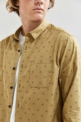 Urban Outfitters Uo Diamond Print Button Down Shirt Mustard