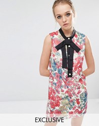 Sister Jane Petunia Floral Shift Dress With Tie Neck Detail Multi