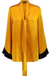 Just Cavalli Pussy Bow Silk Satin Blouse Yellow