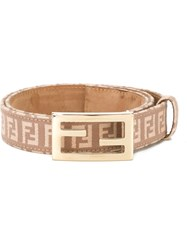 Fendi Vintage Ff Logo Belt Pink And Purple