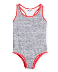 Milly Minis Melange Racerback One Piece Swimsuit Gray Size 8 14 Girl's Size 8 Pink Watermelon