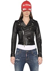 Dsquared2 Lambskin Leather Biker Jacket