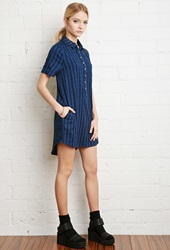 Forever 21 Faded Plaid Shirt Dress Dark Navy Blue
