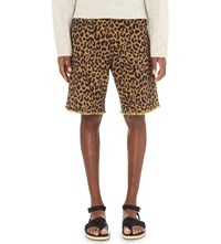 Dries Van Noten Parsons Leopard Print Denim Shorts Bei