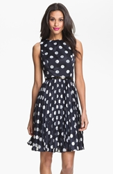 Adrianna Papell Burnout Polka Dot Fit And Flare Dress Regular And Petite Navy