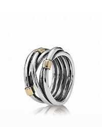 Pandora Design Pandora Ring Sterling Silver And 14K Gold Rope Silver Gold