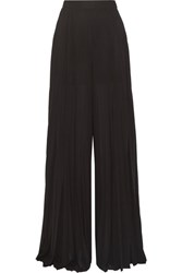 Elie Saab Pleated Georgette Wide Leg Pants Black
