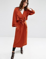Asos Mac With Roll Back Sleeve And Double Collar Detail Tobacco Brown