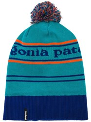 Patagonia Pom Pom Striped Beanie Blue