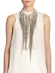 Haute Hippie Pearl And Chain Draped Fringe Neckpiece Ant Ivory