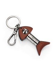 Fendi Leather Key Ring Brown Silver